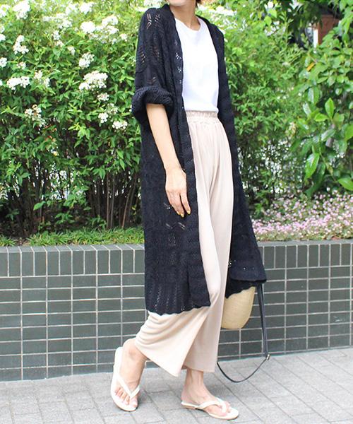 【SALE】カギ編みロングカーディガン/2カラー