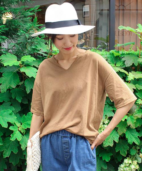 スキッパーコットンTシャツ/4カラー