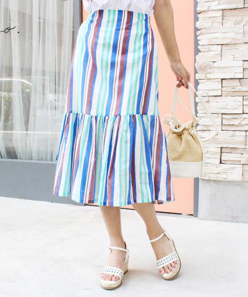 【SALE】マルチストライプスカート/2カラー