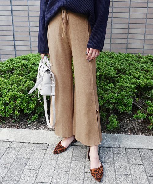 【SALE】リブニットパンツ/4カラー