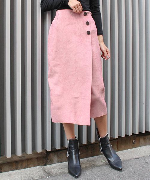 【SALE】スウェードボタンスカート/5カラー