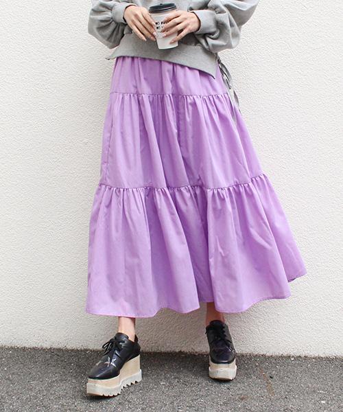 【SALE】ティアードロングスカート/7カラー