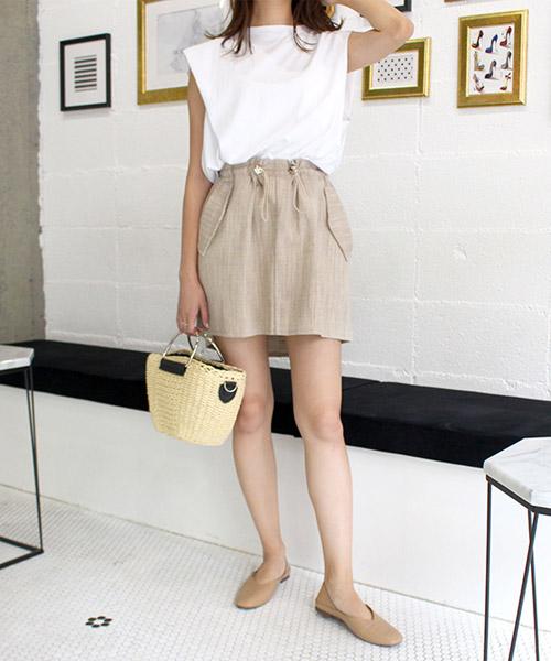 【SALE】ドロストリネンミニスカート/3カラー