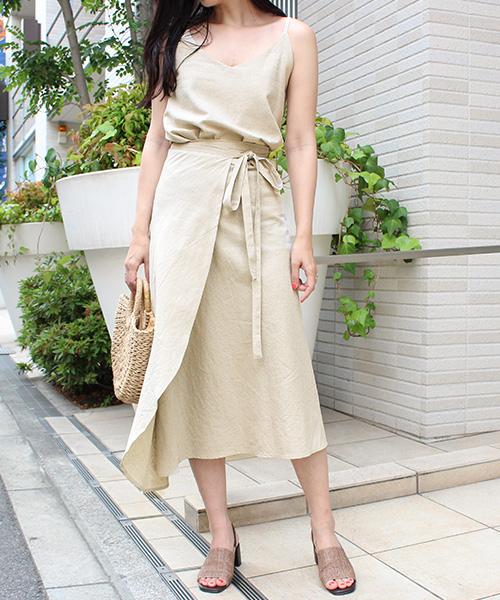 【SALE】リネンキャミ&ラップスカートセット 3way/3カラー
