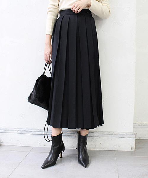 【SALE】ラッププリーツスカート/2カラー