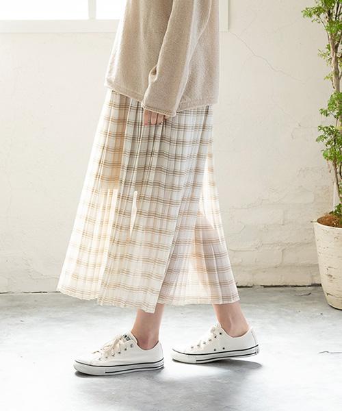 【SALE】シフォンチェックプリーツスカート/1カラー