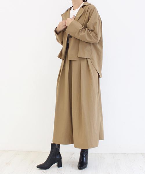タックスカンツ&ショートトレンチジャケットセット/2カラー