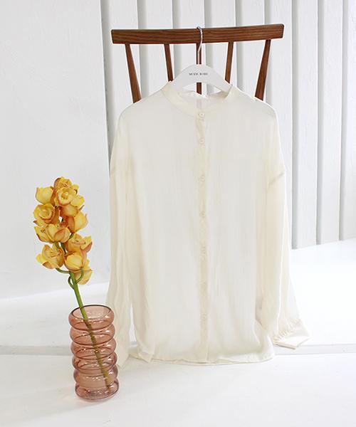 ノーカラーシアーシャツ/1カラー