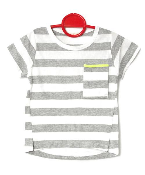 ≪Kids≫ボーダー柄ネオンパイピングポケットTシャツ/2カラー