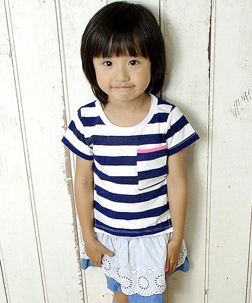 【SALE】≪Kids≫ボーダー柄ネオンパイピングポケットTシャツ/2カラー