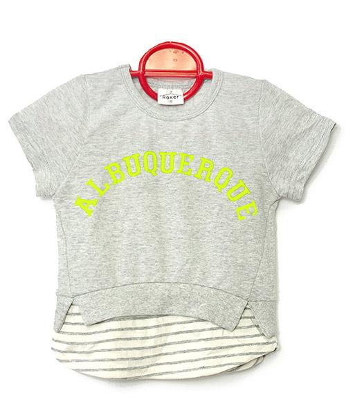≪Kids≫レイヤード風ロゴプリントボーダー半袖Tシャツ/2カラー