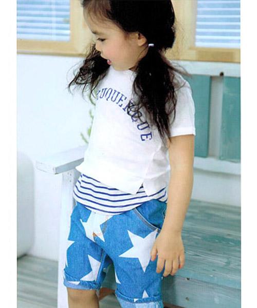 【SALE】≪Kids≫レイヤード風ロゴプリントボーダー半袖Tシャツ/2カラー