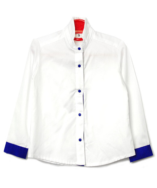 【SALE】≪Kids≫バイカラースタンドカラーシャツ/1カラー