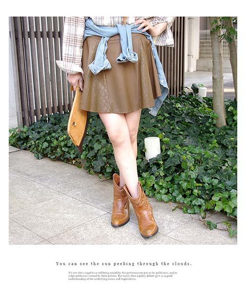 【SALE】キルティング風フェイクレザースカート/2カラー