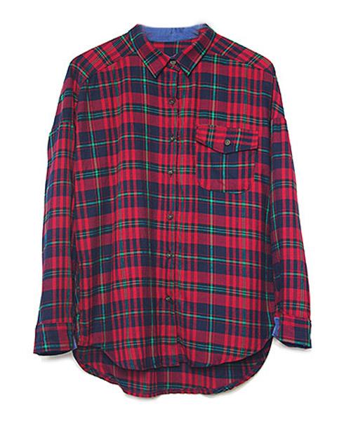 【SALE】タータンチェックデニム切り替えコットンシャツ/3カラー