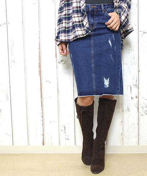 【SALE】バックスリットデニムタイトスカート/1カラー