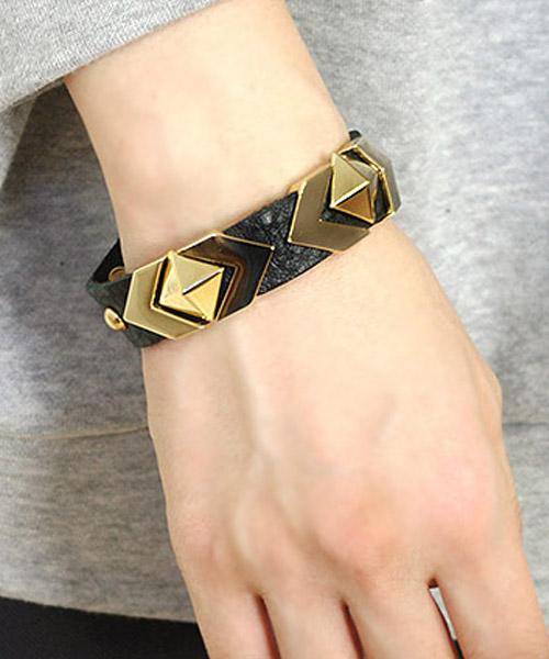 【SALE】ピラミッドゴールドスタッズレザーブレスレット/5カラー
