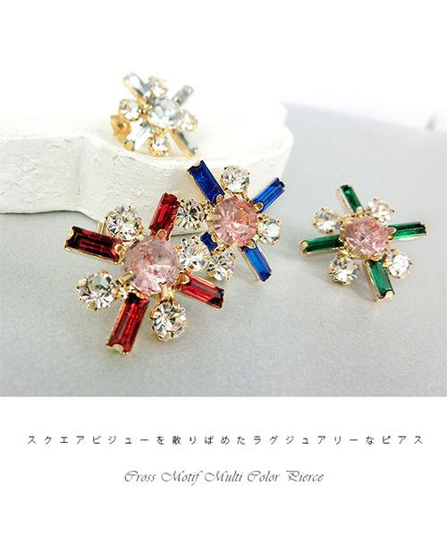 【SALE】クロスモチーフビジューピアス/4カラー