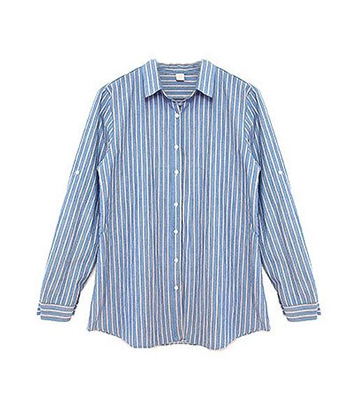 【SALE】ストライプコットンロングシャツ/2カラー
