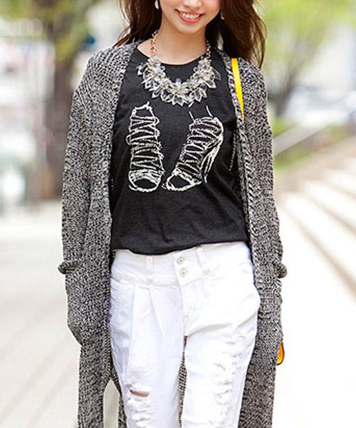 【SALE】サンダルプリントラインストーンTシャツ/2カラー