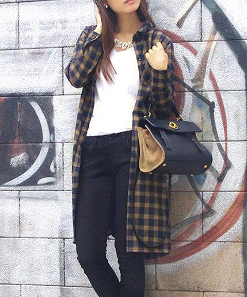 【SALE】タータンチェック柄ロングシャツワンピース/3カラー