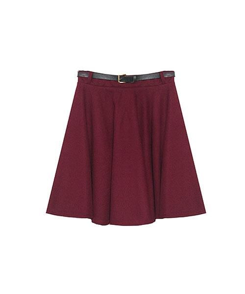 細ベルト付フレアースカート/3カラー