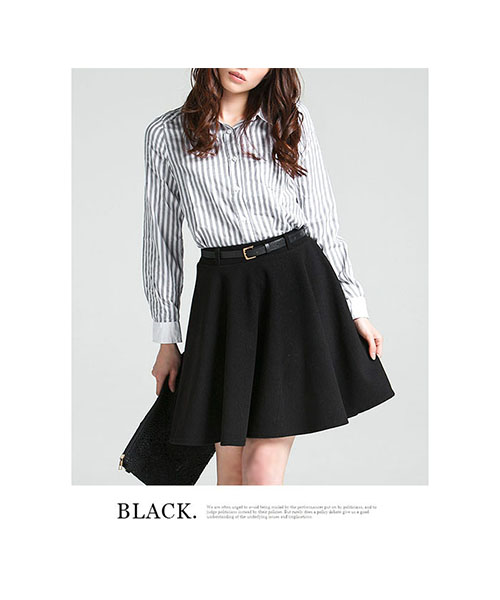 【SALE】細ベルト付フレアースカート/3カラー