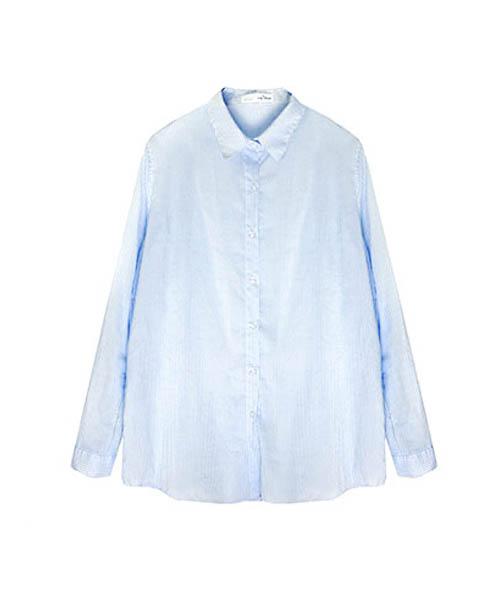 【SALE】ピンストライプロールアップシャツブラウス/3カラー