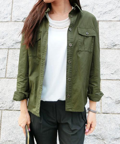 【SALE】ミリタリーベーシックシャツ/3カラー