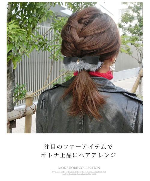 【SALE】ストーン付きファーリボンバレッタ/3カラー