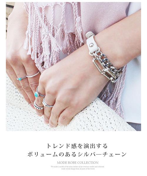 【SALE】レザーチェーンブレスレット/5カラー