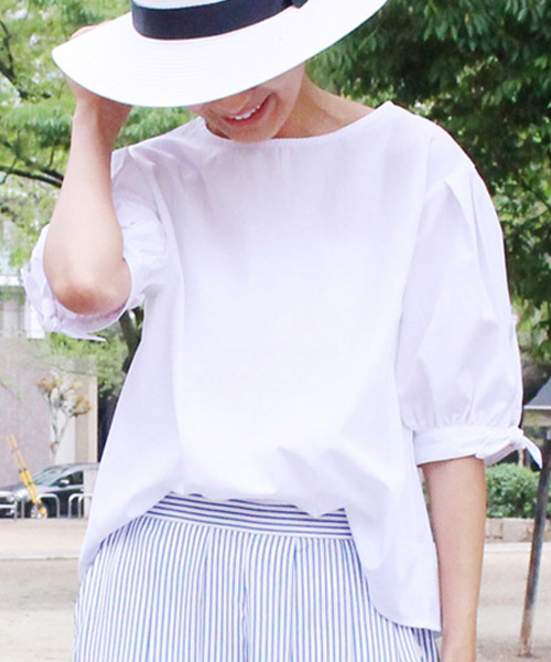 【SALE】五分袖リボントップス プルオーバー/2カラー