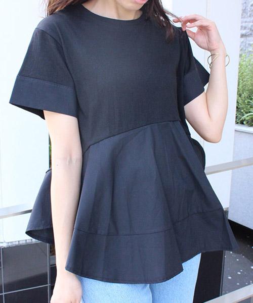 【SALE】シャツ ドッキング フレアTシャツ/3カラー