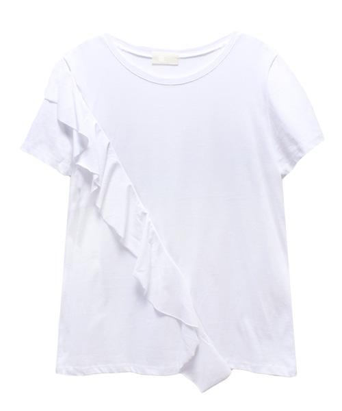 フロントななめフリルTシャツ/2カラー