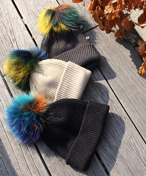 【SALE】ラクーンファーニット帽/5カラー