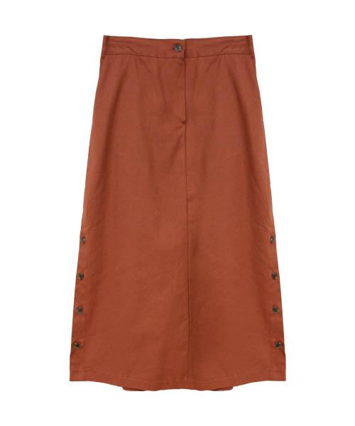 サイドボタンロングスカート/2カラー