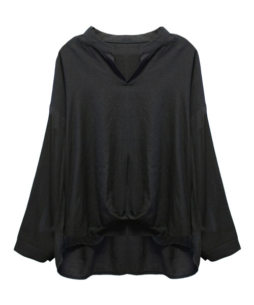 【SALE】ノーカラ―Vネックシャツ/3カラー