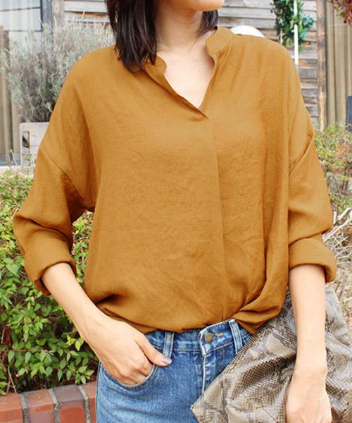 【SALE】ノーカラーVネックシャツ/3カラー