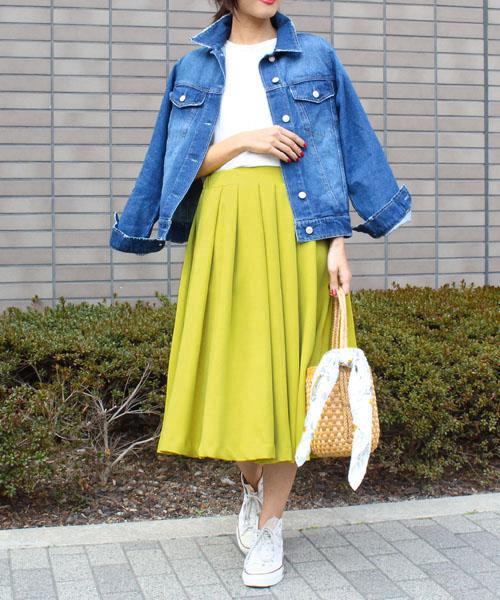 【SALE】カラーフレアスカート/7カラー