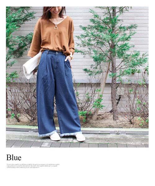 【SALE】ヘムフリンジデニムワイドパンツ/2カラー