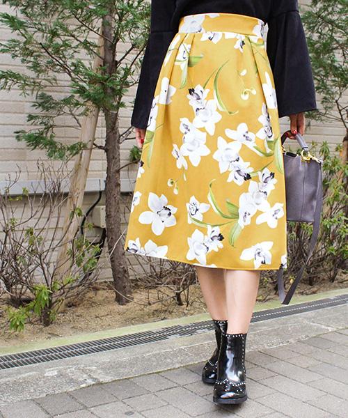 【SALE】フラワーフレアスカート/2カラー