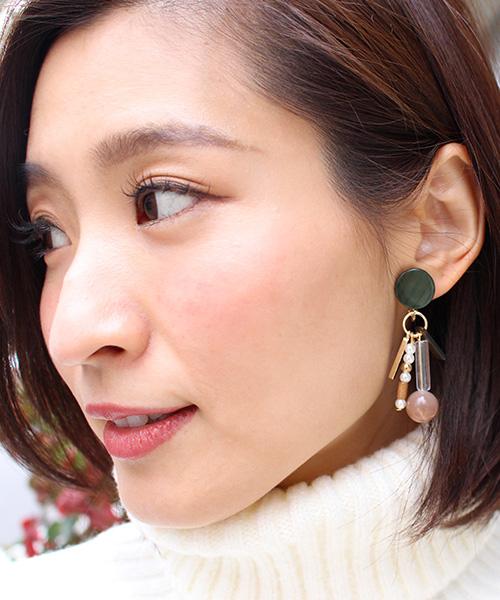 【SALE】天然石アンティークパーツイヤリング/3カラー