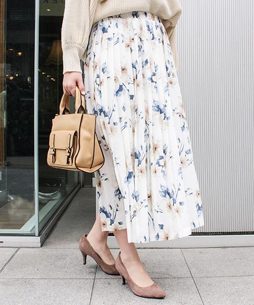 【SALE】フラワープリーツスカート /3カラー