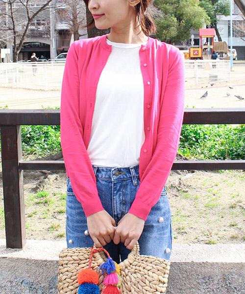 【SALE】カラーカーディガン ショート丈/5カラー