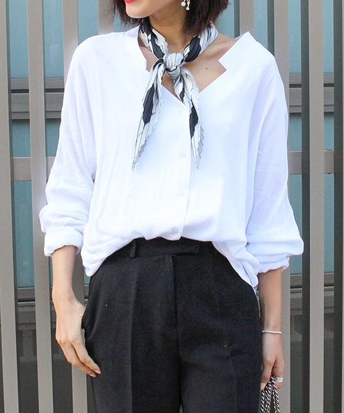 【SALE】襟抜きスキッパーブラウス /4カラー
