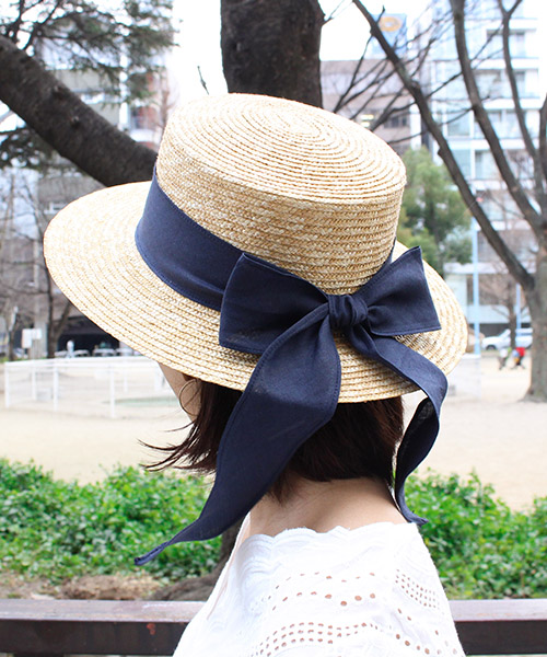 【SALE】ロングリボン カンカン帽/3カラー