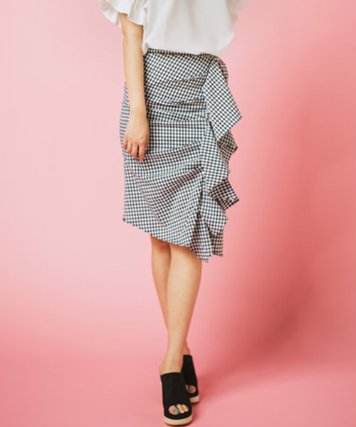 【SUMMER SALE】ギンガムチェックフリルスカート