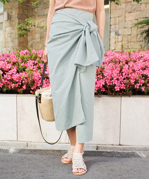 【SUMMER SALE】フロントリボントレンチスカート/2カラー
