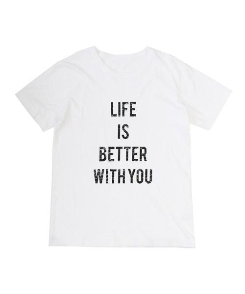 英字プリント半袖Tシャツ/2カラー