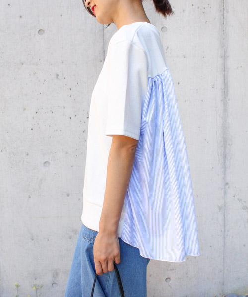 【SALE】バックストライプフレアトップス/2カラー